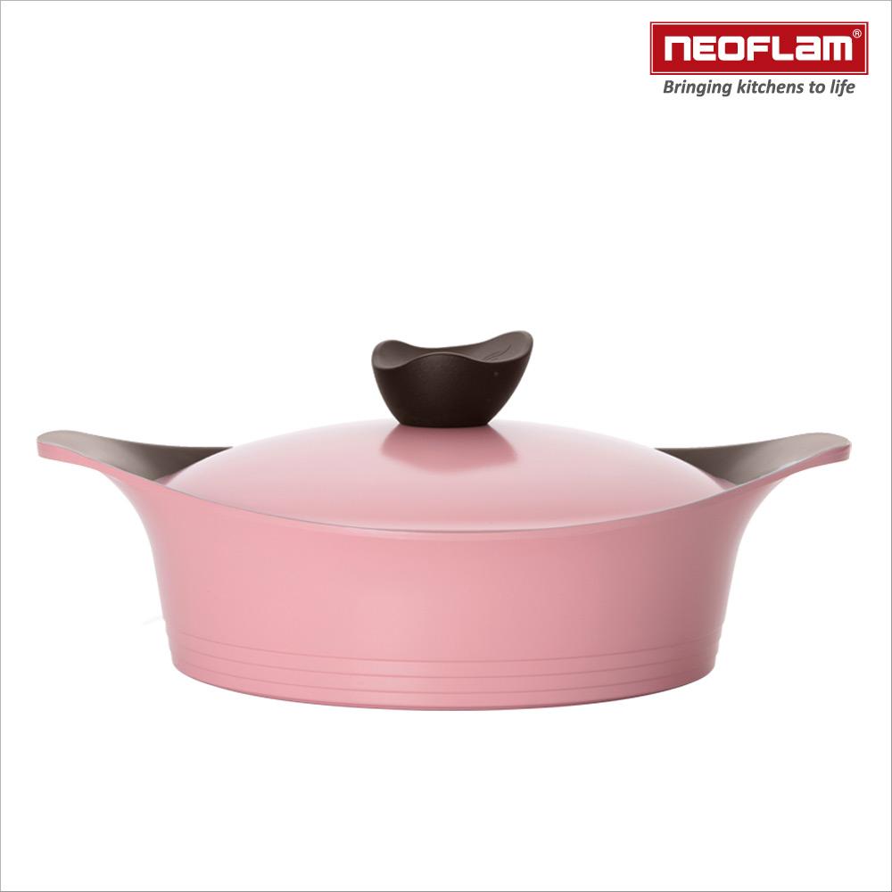 韓國NEOFLAM Aeni系列 28cm陶瓷不沾淺湯鍋+陶瓷塗層鍋蓋