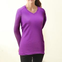 保暖衣 輕薄保暖款台灣研發保暖纖維 女V領紫色TiNyHouSe