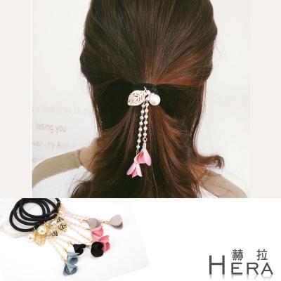 Hera 赫拉 緞布花朵珍珠流蘇髮圈/髮束/3色