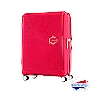 AT美國旅行者 25吋Curio立體唱盤刻紋硬殼可擴充TSA行李箱(紅)