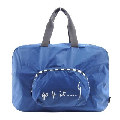 agnes b. 摺疊輕便旅行袋-大/藍
