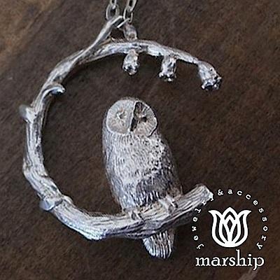 Marship 日本銀飾品牌 貓頭鷹與風鈴花項鍊 925純銀 亮銀款