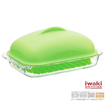 iwaki  巨蛋蓋型方型玻璃調理盤700ml(鮮草綠)