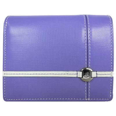 agnes b.小B十字結皮革短夾(粉紫)