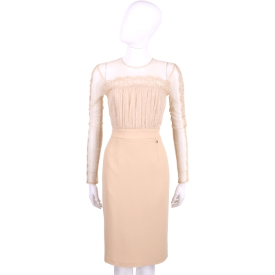 ELISABETTA FRANCHI 粉裸色皺褶蕾絲拼接長袖洋裝