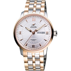 ENICAR 英納格 光輝時刻經典機械腕錶-銀x雙色版/41mm