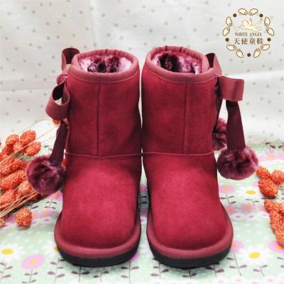 WhiteAngel天使童鞋-F544 俏麗繫帶蝴蝶結毛球雪靴-紅
