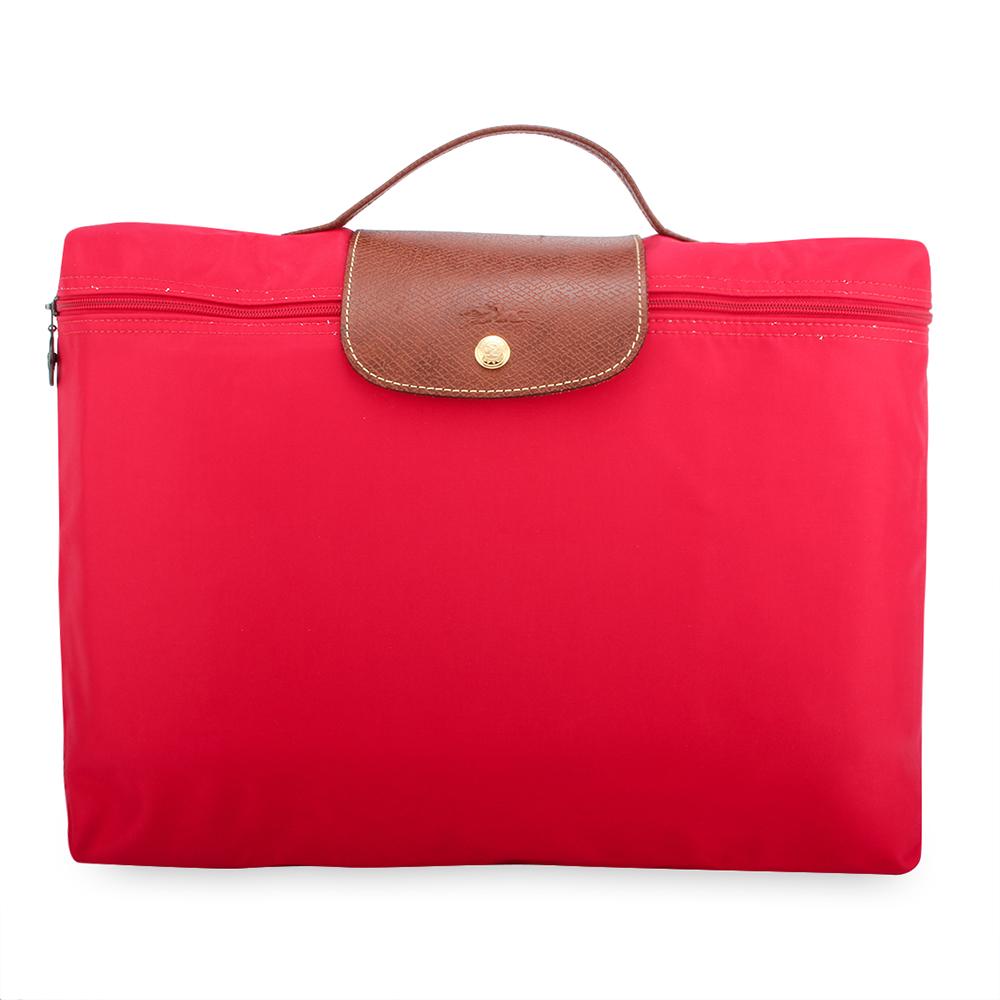 Longchamp Le Piage拉鍊尼龍摺疊公事包-玫瑰紅色LONGCHAMP