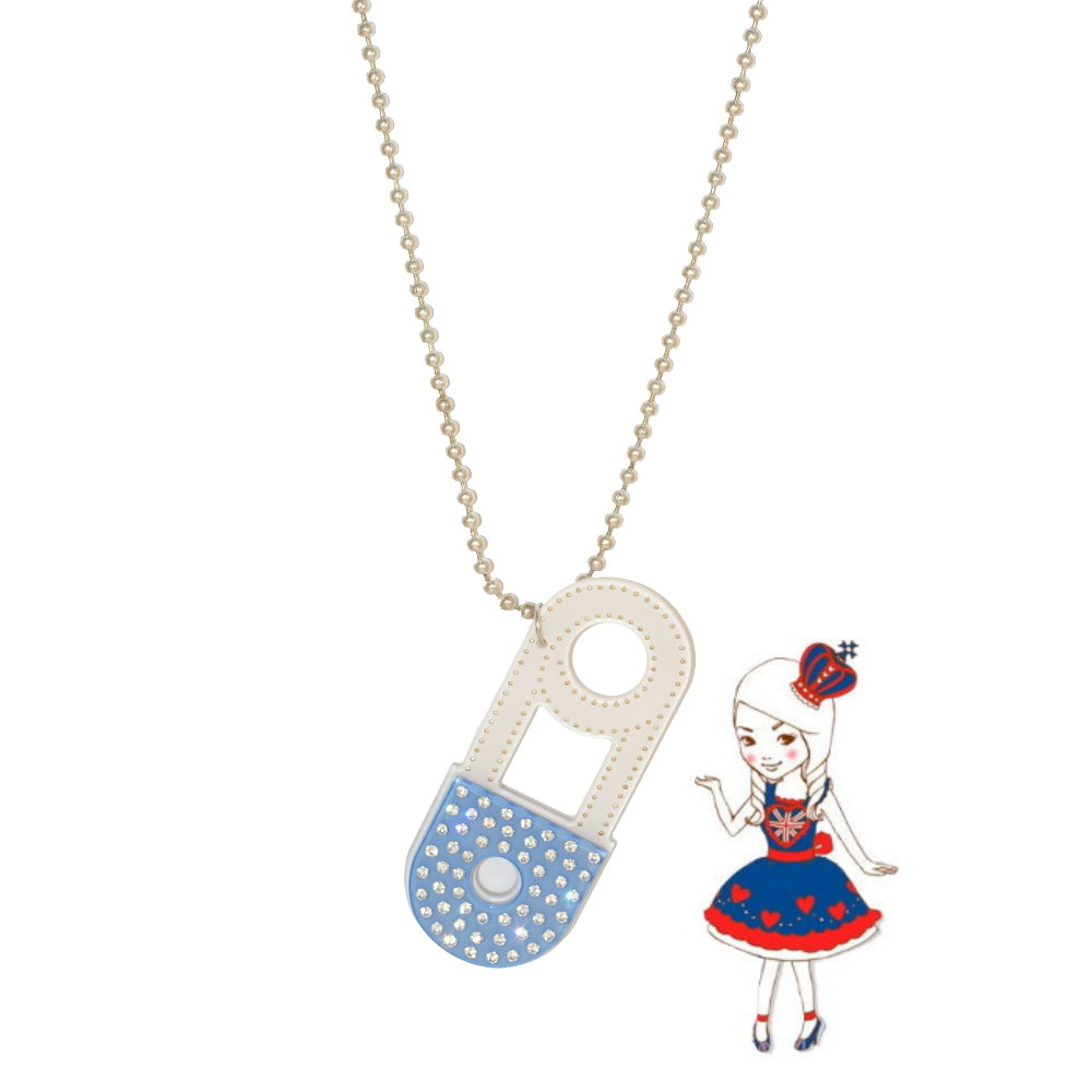 Anna Lou Of London倫敦品牌 Safety Pin立體安全別針水晶項鍊