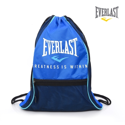 EVERLAST 拳擊 品牌~多 束口袋~藍 黑