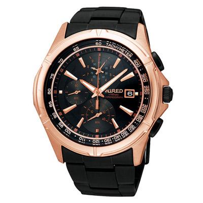 WIRED 絕地爭霸三眼計時腕錶(AQ8016X)-黑x玫瑰金/40mm