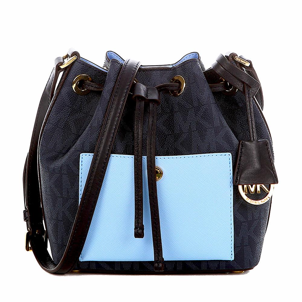 MICHAEL KORS 圓扣前口袋撞色皮革水桶包(小/藍)