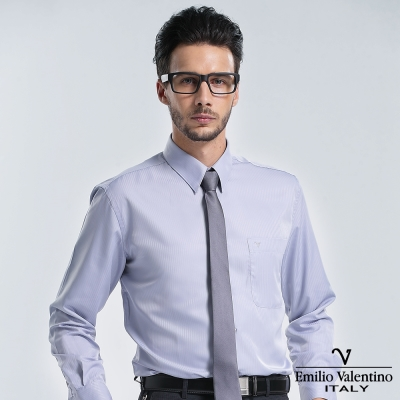 Emilio Valentino 范倫提諾仿天絲條紋長袖襯衫-灰