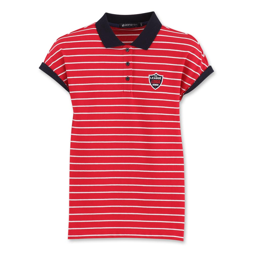 Hang Ten - 女裝 - 時尚條紋彈性POLO衫- 紅