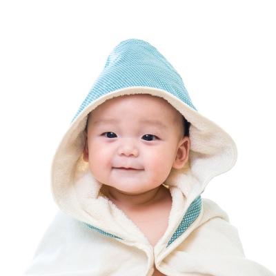 Nizio小蘑菇天然棉紗浴巾/藍綠點點