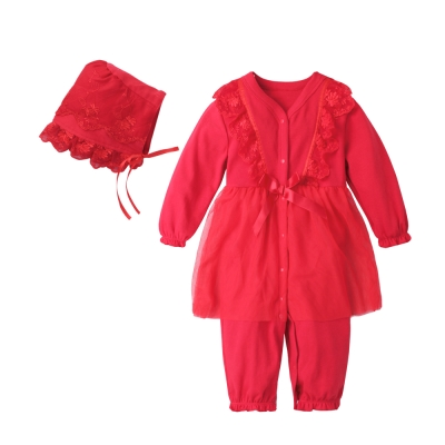 baby童衣 蕾絲緞帶造型連身衣 附帽子 70125