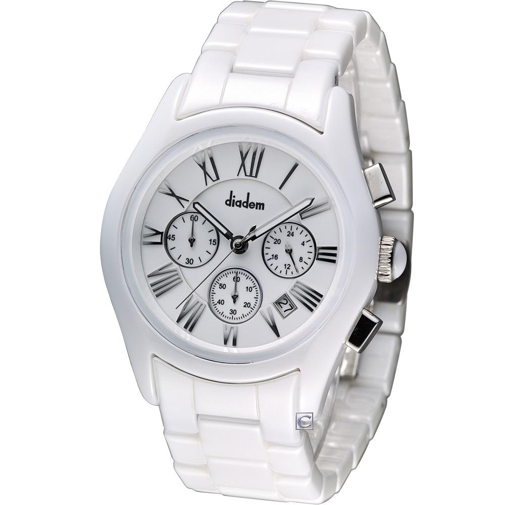 Diadem 黛亞登 時尚紳士陶瓷計時腕錶-白/44mm