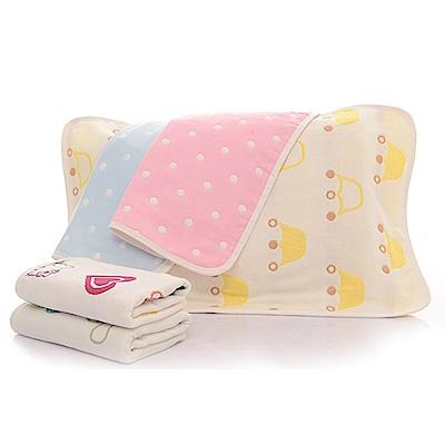 【JOYNA】高密度六層純棉提花嬰幼兒枕套-2入組