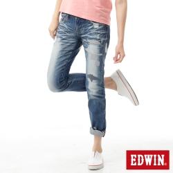 EDWIN AB褲 MISS 505補釘牛仔褲-女-漂淺藍
