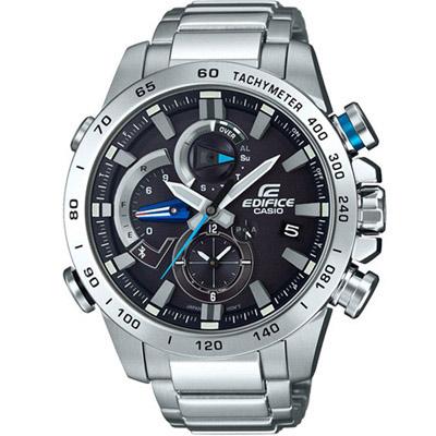 EDIFICE  太陽能兩地時間藍牙錶(EQB-800D-1A)黑/49.2mm
