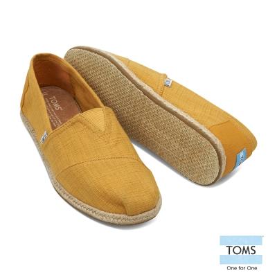 TOMS 藤編亞麻懶人鞋-男款(芥末黃)