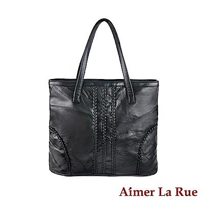 Aimer La Rue 手提單肩包 簡約拼接羊皮系列(二色)
