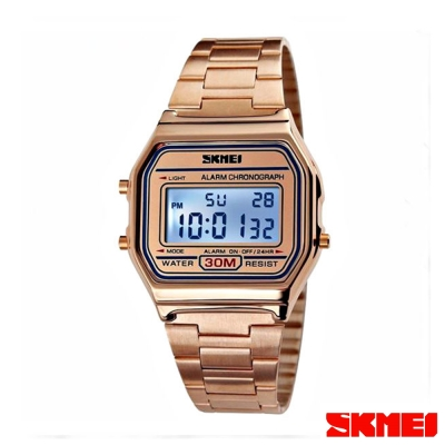 SKMEI時刻美 復古風潮方形經典電子錶-玫瑰金