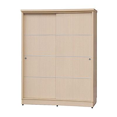 品家居 亞摩4尺木紋雙推門衣櫃(二色可選)-122x60x199cm免組