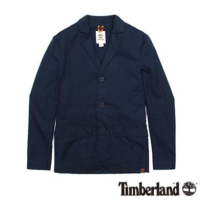 Timberland-男款深寶藍棉麻經典休閒西裝外套