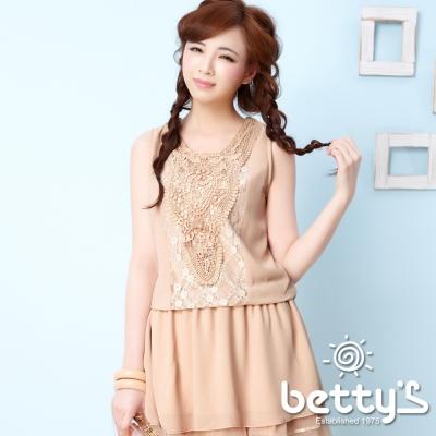 betty-s貝蒂思-寶石串珠蕾絲長版雪紡背心-淺卡其