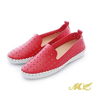 MK-台灣手作-編織鏤空馬克休閒平底懶人鞋-紅色