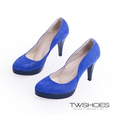 TWshoes經典素面淑女高跟鞋-藍