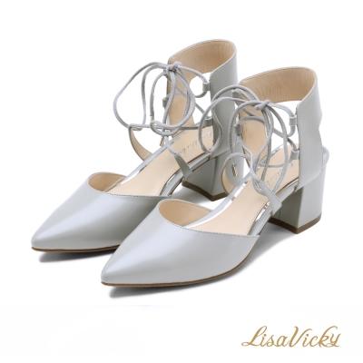 LisaVicky約會必備優雅繞踝綁帶尖包頭粗跟涼鞋--氣質灰