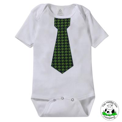 The Happy Cow 綠色千鳥款 紳士領帶短袖包屁衣