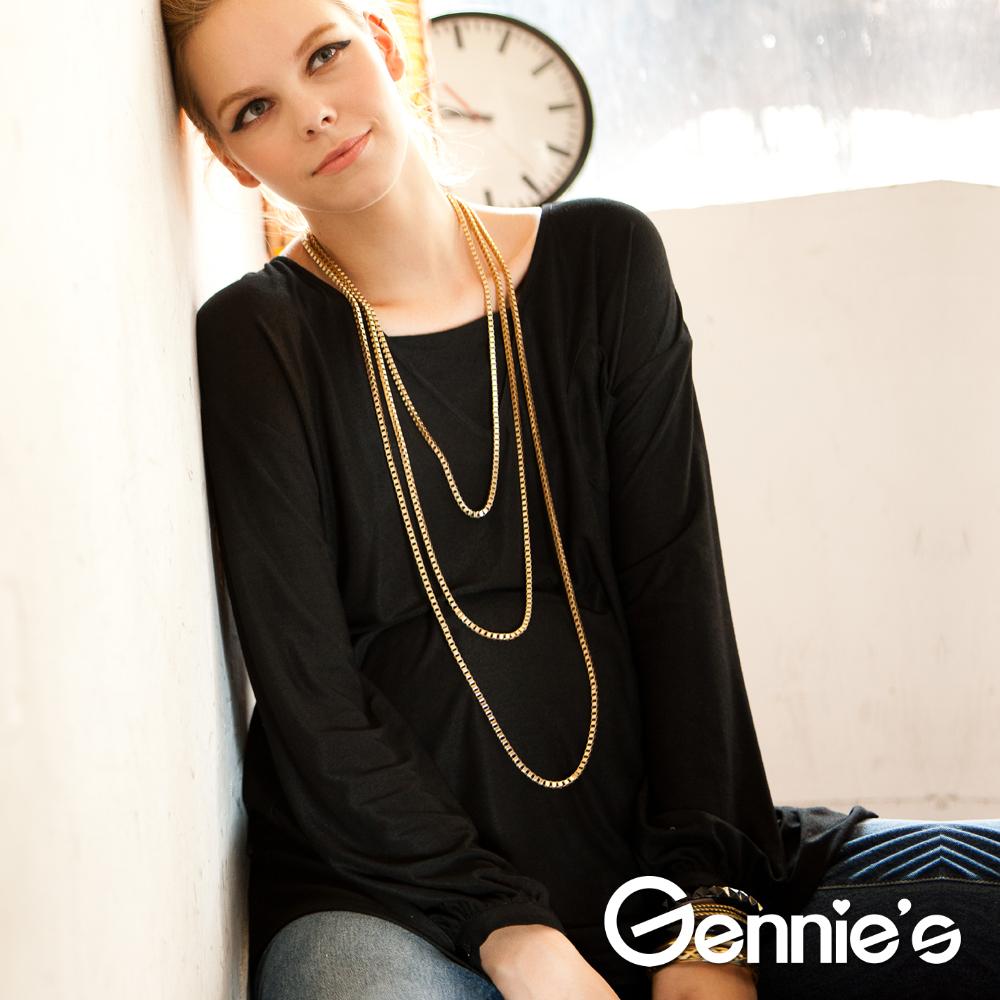 【Gennie's奇妮】悠閒時光輕盈假V領孕婦上衣-黑(C3206)