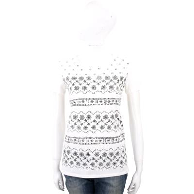 Max Mara-WEEKEND 白色排列印花短袖棉質T恤