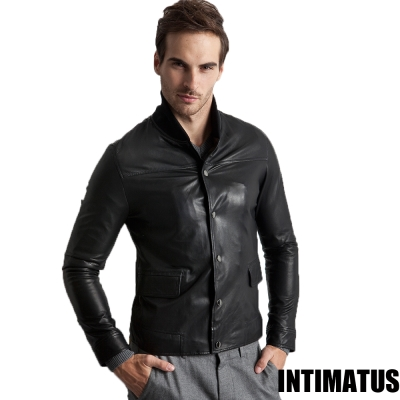 真皮皮衣 棒球外套雙重穿法小羊皮皮衣 時尚黑色-INTIMATUS