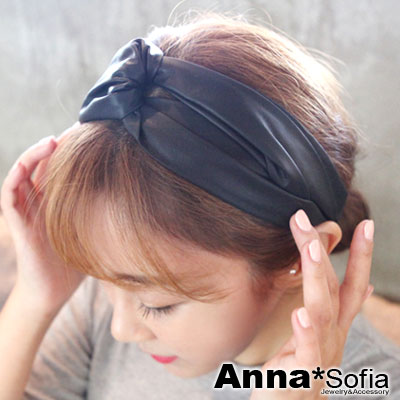 AnnaSofia 韓款皮革交叉結 彈性寬髮帶(酷黑)