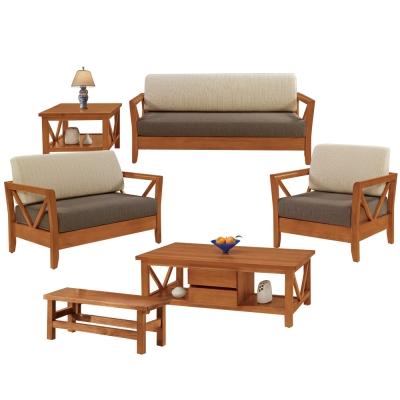 Boden-奇爾實木沙發椅組(1+2+3人座+大小茶几)