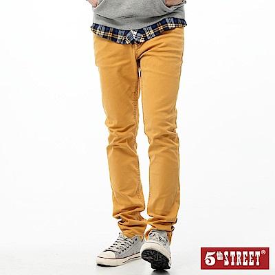 5th STREET 經典重水洗直筒牛仔褲-男-黃色