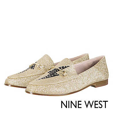 NINE WEST--閃電亮面樂福平底鞋-閃耀金