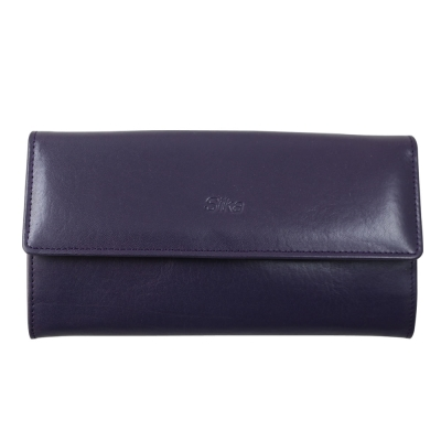 Sika義大利時尚真皮掀翻式壓扣長夾A8284-07木槿紫