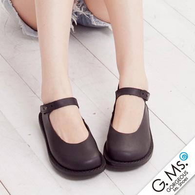 【G.Ms.】MIT系列‧樂活通勤款‧腳踝繫帶牛皮圓頭休閒鞋‧實搭黑