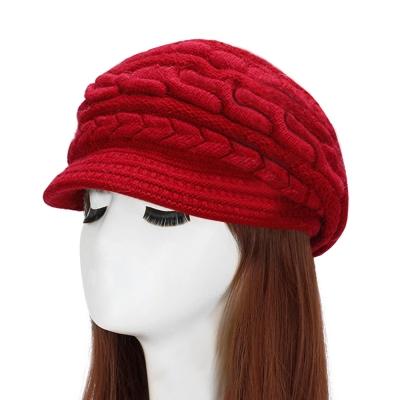 幸福揚邑-麻花針織毛線帽防風保暖加絨貝蕾帽兔毛帽
