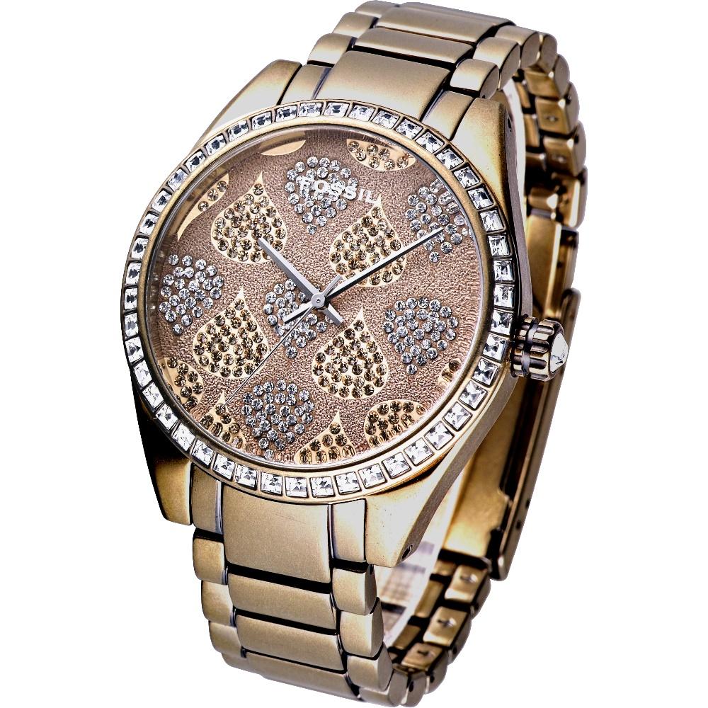 FOSSIL 奢華頹靡金個性璀鑽腕錶-金/41mm
