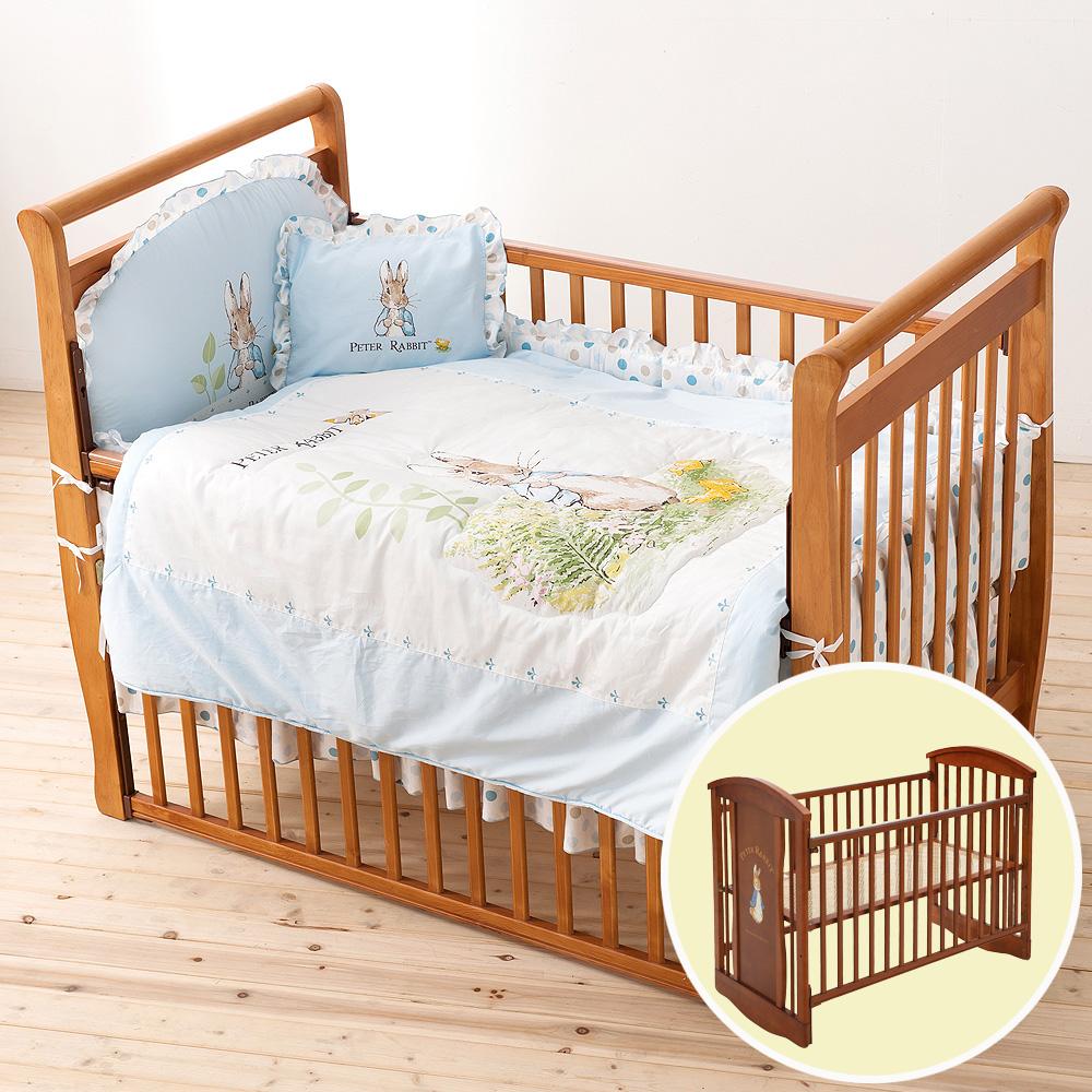 奇哥 比得兔中床+花園比得兔六件床組M-藍色