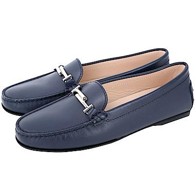 TOD'S Double T 金屬設計豆豆樂褔鞋(女鞋/深藍色)
