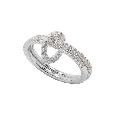 apm MONACO法國精品珠寶 銀色鑲晶鑽雙行環扣戒指