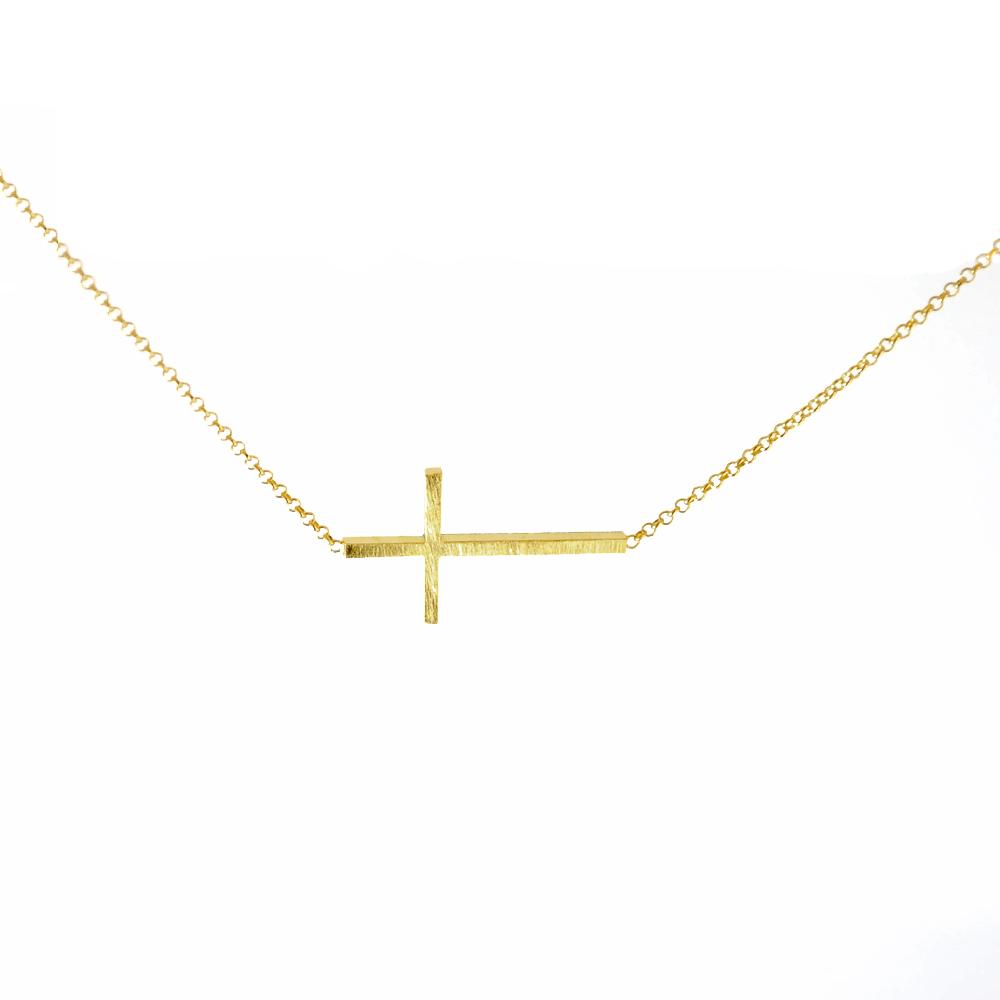 【Dogeared】Faith大金十字架18吋許願項鍊