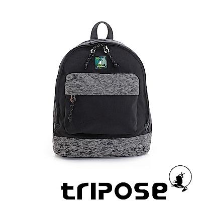 tripose 微旅輕量岩紋配色防潑水後背包 黑